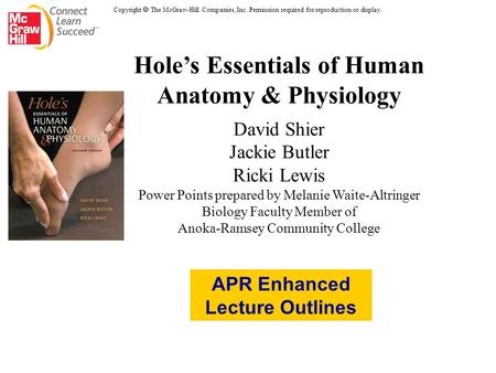 Hole's Essentials of Human Anatomy & Physiology David Shier Jackie Butler Ricki Lewis Power Points prepared by Melanie Waite-Altringer Biology Faculty.