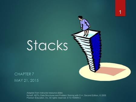 Stacks CHAPTER 7 MAY 21, 2015 Adapted from instructor resource slides Nyhoff, ADTs, Data Structures and Problem Solving with C++, Second Edition, © 2005.