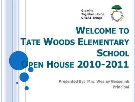 W ELCOME TO T ATE W OODS E LEMENTARY S CHOOL O PEN H OUSE 2010-2011 Presented By: Mrs. Wesley Gosselink Principal Growing Together…to do GREAT Things.