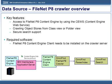 IBM OmniFind Enterprise Edition V9.1 – July 2010 Data Source – FileNet P8 crawler overview  Key features: –Access to FileNet P8 Content Engine by using.