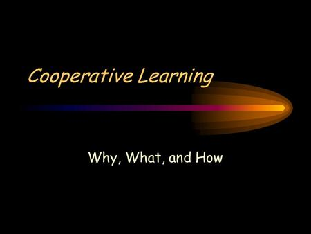 Cooperative Learning Why, What, and How. 3 Types of Learning.