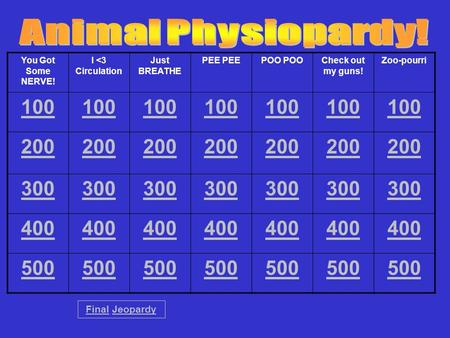 You Got Some NERVE! I <3 Circulation Just BREATHE PEE POO Check out my guns! Zoo-pourri 100 200 300 400 500 FinalFinal JeopardyJeopardy.