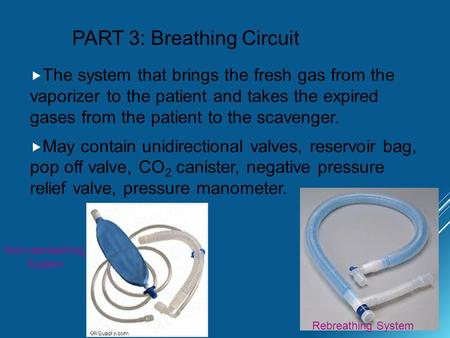 PART 3: Breathing Circuit  The system that brings the fresh gas from the vaporizer to the patient and takes the expired gases from the patient to the.