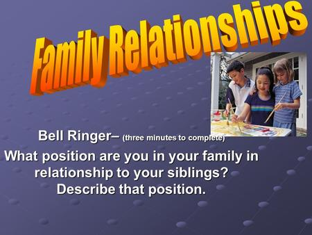 Bell Ringer– (three minutes to complete) What position are you in your family in relationship to your siblings? Describe that position.