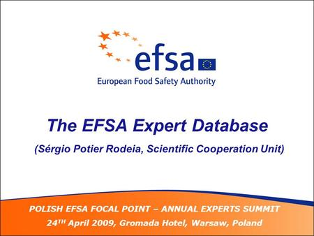 POLISH EFSA FOCAL POINT – ANNUAL EXPERTS SUMMIT