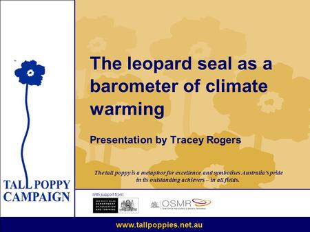 The leopard seal as a barometer of climate warming Presentation by Tracey Rogers With support from: www.tallpoppies.net.au The tall poppy is a metaphor.