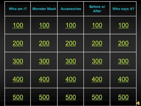 Who am I?Monster MashAccessories Before or After Who says it? 100 200 300 400 500.
