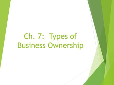 Ch. 7: Types of Business Ownership. Sole Proprietorships  Owned and operate by one person  Easiest and Most Popular!  Approximately 76% of all business.