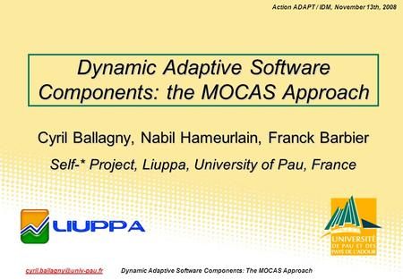 Action ADAPT / IDM, November 13th, 2008 Dynamic Adaptive Software Components: The MOCAS Approach1.