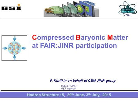 1 Compressed Baryonic Matter at FAIR:JINR participation Hadron Structure 15, 29 th June- 3 th July, 2015 P. Kurilkin on behalf of CBM JINR group VBLHEP,