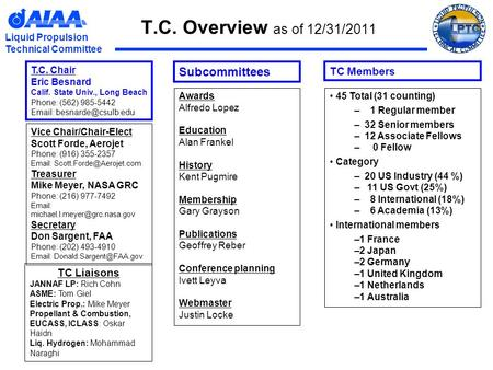Liquid Propulsion Technical Committee T.C. Overview as of 12/31/2011 TC Liaisons JANNAF LP: Rich Cohn ASME: Tom Giel Electric Prop.: Mike Meyer Propellant.