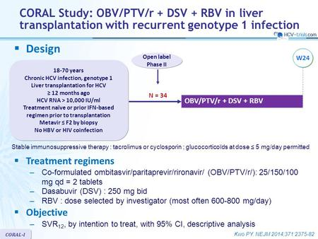 Kwo PY. NEJM 2014;371:2375-82 CORAL-I  Design OBV/PTV/r + DSV + RBV Open label Phase II 18-70 years Chronic HCV infection, genotype 1 Liver transplantation.