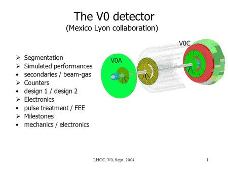 LHCC, V0, Sept. 20041 The V0 detector (Mexico Lyon collaboration)  Segmentation  Simulated performances secondaries / beam-gas  Counters design 1 /