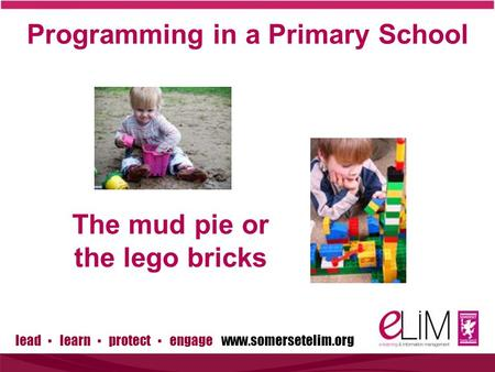 Lead ▪ learn ▪ protect ▪ engage www.somersetelim.org Programming in a Primary School The mud pie or the lego bricks.