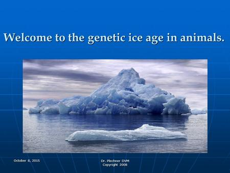 Welcome to the genetic ice age in animals. Dr. Plechner DVM Copyright 2008 October 8, 2015October 8, 2015October 8, 2015.