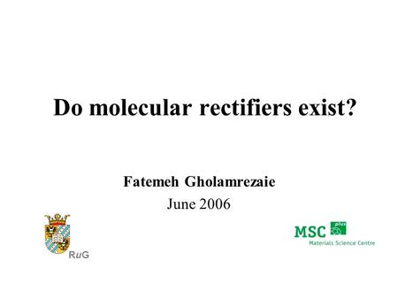 Do molecular rectifiers exist? Fatemeh Gholamrezaie June 2006 RuGRuG.