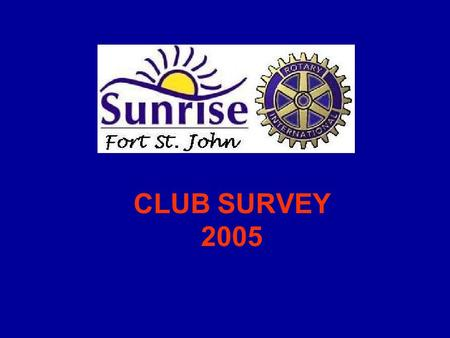 CLUB SURVEY 2005. Introduction New Executive wanted to survey Club members to find out where they saw the Club going To be part of first Assembly of the.