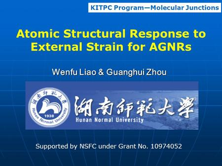 Atomic Structural Response to External Strain for AGNRs Wenfu Liao & Guanghui Zhou KITPC Program—Molecular Junctions Supported by NSFC under Grant No.