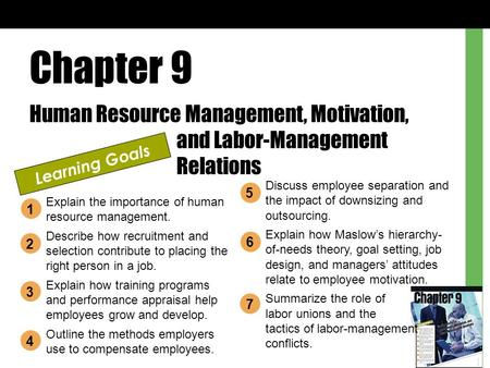 Chapter 9 Human Resource Management, Motivation, and Labor-Management Relations Learning Goals Explain the importance of human resource management. Describe.