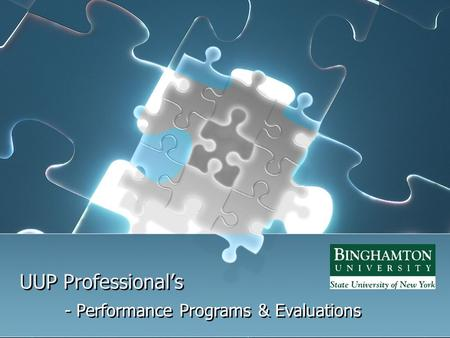 UUP Professional's - Performance Programs & Evaluations.