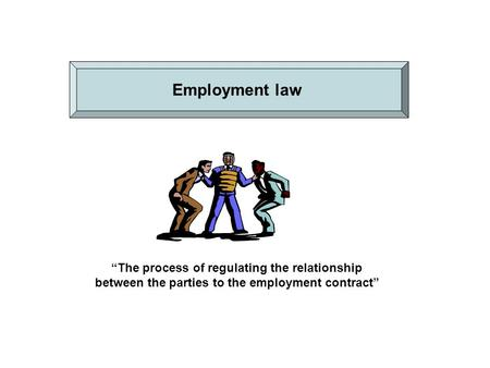 """The process of regulating the relationship between the parties to the employment contract"" Employment law."