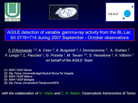 AGILE detection of variable gamma-ray activity from the BL Lac S5 0716+714 during 2007 September - October observations F. D'Ammando 1,2, A. Chen 3, A.