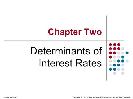 Copyright © 2012 by The McGraw-Hill Companies, Inc. All rights reserved. McGraw-Hill/Irwin Chapter Two Determinants of Interest Rates.