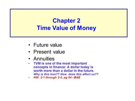 Future value Present value Annuities TVM is one of the most important concepts in finance: A dollar today is worth more than a dollar in the future. Why.