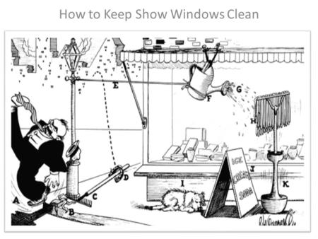 How to Keep Show Windows Clean. Passing man (A) slips on banana peel (B) causing him to fall on rake (C). As handle of rake rises it throws horseshoe.