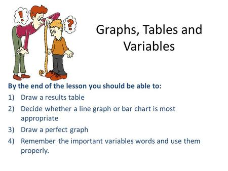 Graphs, Tables and Variables By the end of the lesson you should be able to: 1)Draw a results table 2)Decide whether a line graph or bar chart is most.