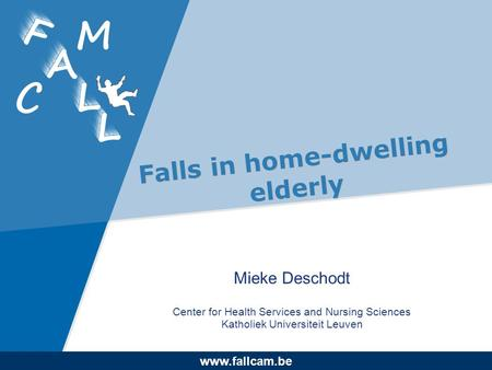 Www.company.com www.fallcam.be Falls in home-dwelling elderly Mieke Deschodt Center for Health Services and Nursing Sciences Katholiek Universiteit Leuven.