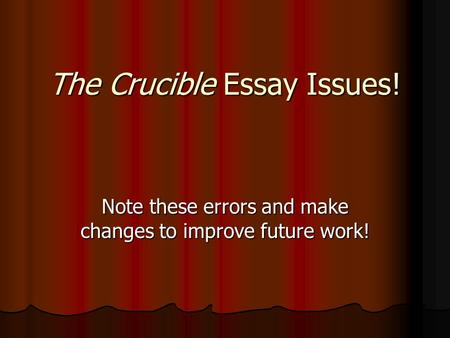 the crucible coursework essay