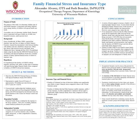 Family Financial Stress and Insurance Type Alexander Alvarez, OTS and Ruth Benedict, DrPH,OTR Occupational Therapy Program, Department of Kinesiology University.