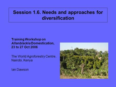Session 1.6. Needs and approaches for diversification Training Workshop on Allanblackia Domestication, 23 to 27 Oct 2006 The World Agroforestry Centre,