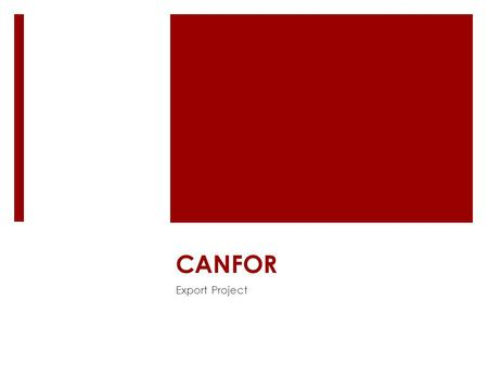 CANFOR Export Project. Agenda 1.Objective 2.Company overview 3.Potential wood demand in China 4.Competitive advantage 5.Possible constraints.