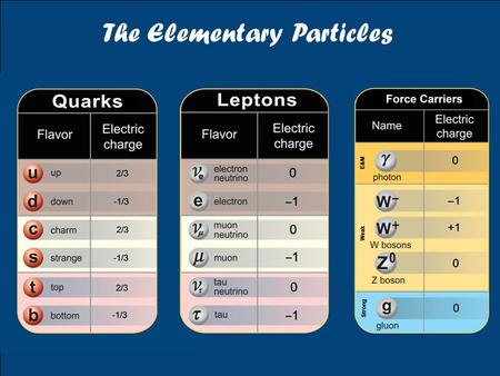 The Elementary Particles. e−e− e−e− γγ u u γ d d The Basic Interactions of Particles g u, d W+W+ u d Z0Z0 ν ν Z0Z0 e−e− e−e− Z0Z0 e−e− νeνe W+W+ Electromagnetic.