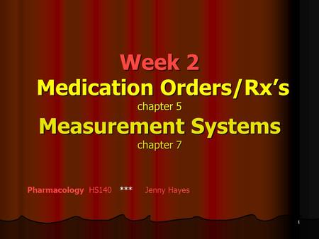 Calculation of Medications Measured in Units, Milliequivalents, and Percentages of Concentration
