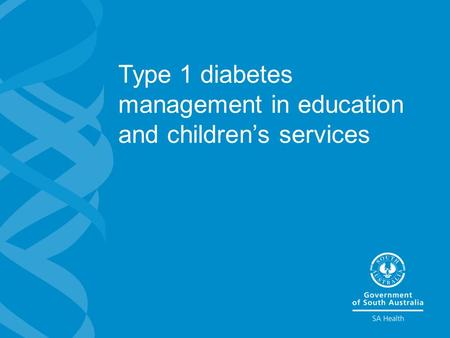 Type 1 diabetes management in education and children's services.