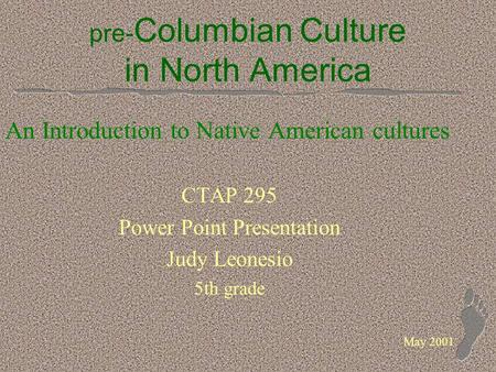 Pre- Columbian Culture in North America An Introduction to Native American cultures CTAP 295 Power Point Presentation Judy Leonesio 5th grade May 2001.
