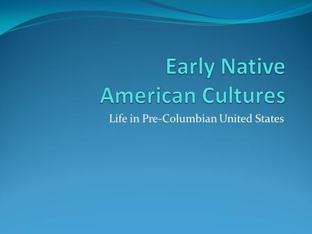 Life in Pre-Columbian United States. Focus Question: Describe the common image most people have of American Indians: