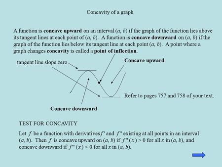 Concavity of a graph A function is concave upward on an interval (a, b) if the graph of the function lies above its tangent lines at each point of (a,
