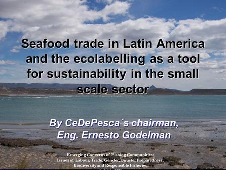 Seafood trade in Latin America and the ecolabelling as a tool for sustainability in the small scale sector By CeDePesca´s chairman, Eng. Ernesto Godelman.