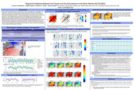 Regional Feedbacks Between the Ocean and the Atmosphere in the North Atlantic (A21D-0083) LuAnne Thompson 1, Maylis Garcia, Kathryn A. Kelly 1, James Booth.