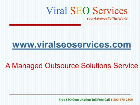 Viral SEO Services Your Gateway To The World Free SEO Consultation Toll Free Call 1-800-670-2809 www.viralseoservices.com A Managed Outsource Solutions.