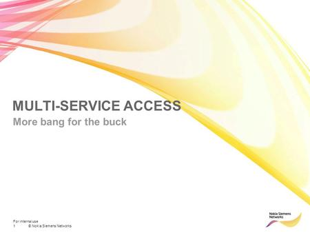 1© Nokia Siemens Networks For internal use MULTI-SERVICE ACCESS More bang for the buck.