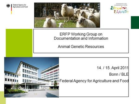 ERFP Working Group on Documentation and Information Animal Genetic Resources 14. / 15. April 2011 Bonn / BLE Federal Agency for Agriculture and Food.
