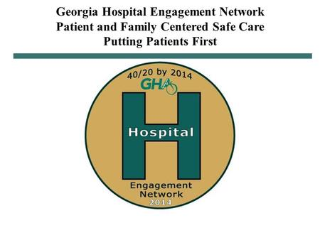 11/20/2013 1 Georgia Hospital Engagement Network Patient and Family Centered Safe Care Putting Patients First.