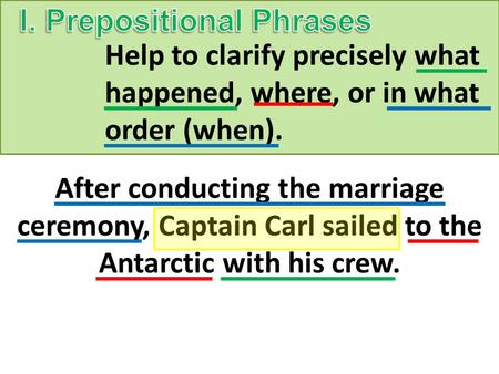 Help to clarify precisely what happened, where, or in what order (when). After conducting the marriage ceremony, Captain Carl sailed to the Antarctic with.