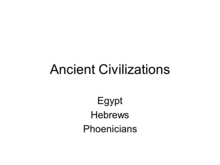 Ancient Civilizations Egypt Hebrews Phoenicians. Egypt Settled along the Nile Valley. Developed a writing system similar to cuneiform with pictures representing.