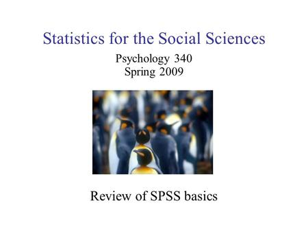 Statistics for the Social Sciences Psychology 340 Spring 2009 Review of SPSS basics.